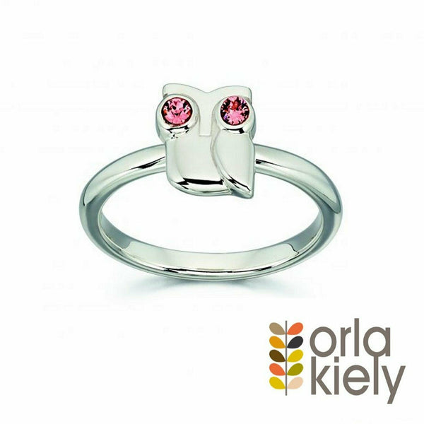 Orla Kiely Sterling Silver & Swarovski Crystal Owl Ring Size Q - R3494 - Charming And Trendy Ltd