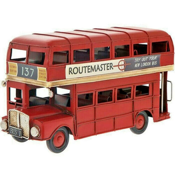 NEW Vintage Transport Red London Bus Tin Model Hand Painted Ornament