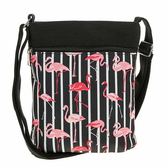 Flamingo Flat Shoulder Bag from Equilibrium - Black - Charming And Trendy Ltd