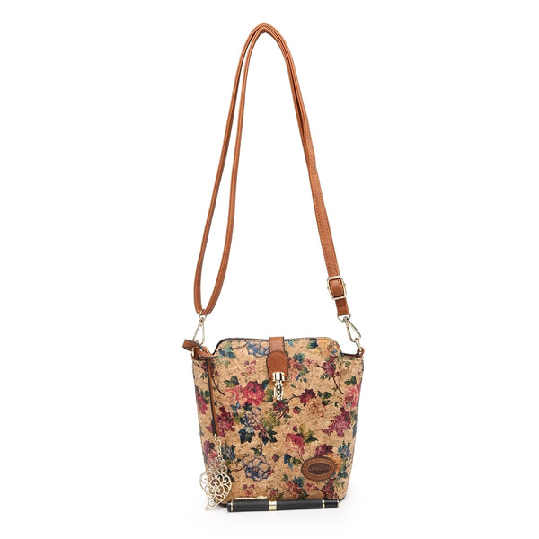 Cork Vegan Friendly Shoulder/Crossbody Bag - Floral Print - Charming And Trendy Ltd