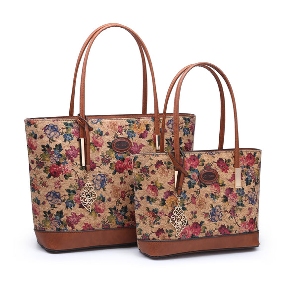 Cork Vegan Friendly Handbag/Shoulder Toe Bag - Floral Print - Charming And Trendy Ltd