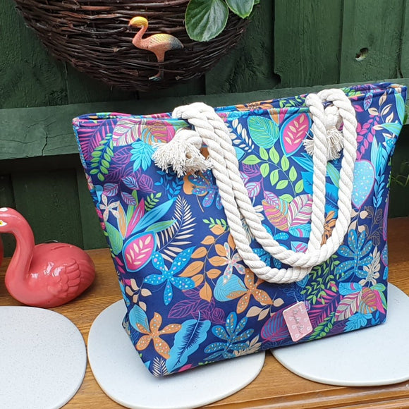 Blue Floral Beach Shopper/Beach Bag - Charming And Trendy Ltd
