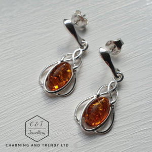 925 Sterling Silver & Baltic Amber Marquise Celtic Drop Earrings - Gift Boxed - Charming And Trendy Ltd