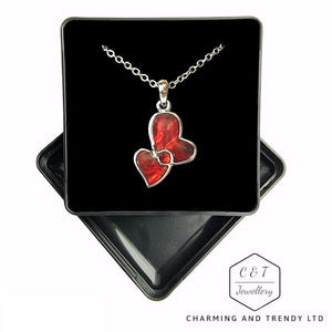"Red Paua Shell Entwind Hearts Necklace - 18"" Chain - Gift Box - Charming And Trendy Ltd"