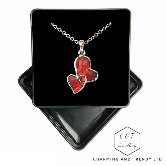 Red Paua Shell Entwind Hearts Necklace - 18