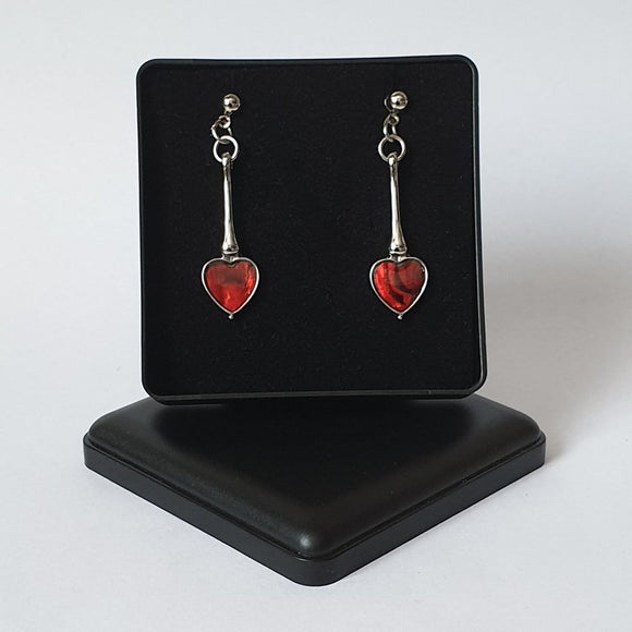Red Paua Shell Long Heart Stud Earrings - Charming And Trendy Ltd