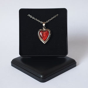 "Red Paua Shell Heart Locket Pendant - 18"" Chain - Gift Box - Charming And Trendy Ltd"