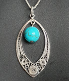 "Maltese Filigree Sterling Silver Necklace with Turquoise Stone and 16"" Chain - Charming And Trendy Ltd"