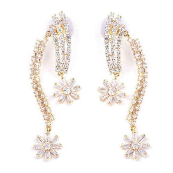 Simulated Diamond Gold Plated Dangle Earrings - Charming And Trendy Ltd