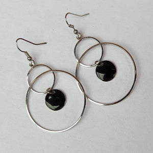 Circle with Black Enamel and Silver Colour Drop Earrings - Charming And Trendy Ltd