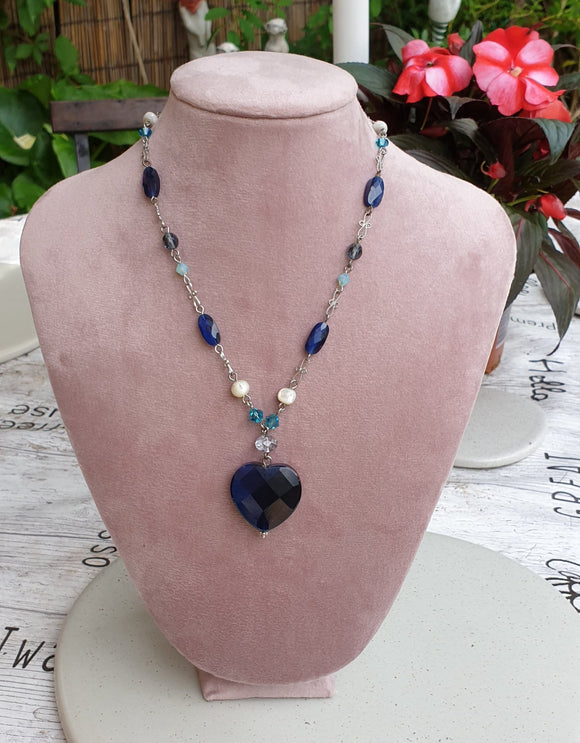 Blue Heart Pendant with Pearl and Blue Tone Bead Necklace - Charming And Trendy Ltd
