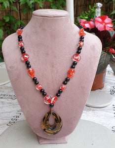 Black and Gold Pendant with Black, Red & White Glass Beads - Charming And Trendy Ltd