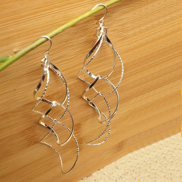 Twisted Spiral Curly Metallic Silver Look Fashion Earrings - Charming And Trendy Ltd