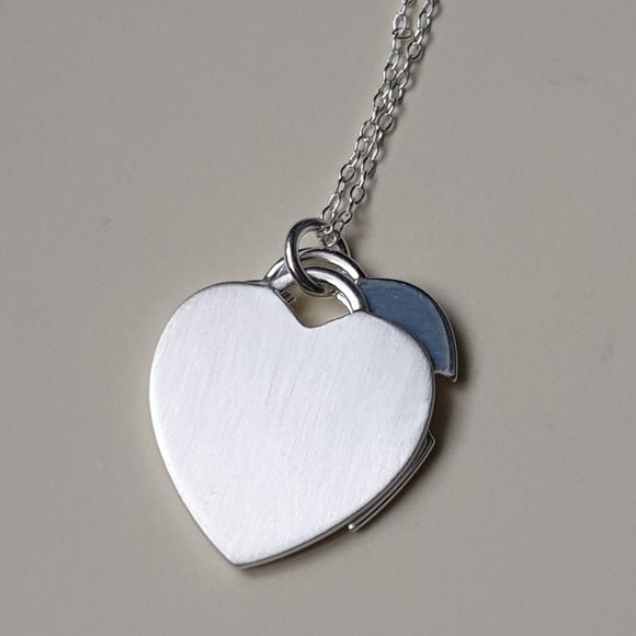 Double Layer Sterling Silver Heart Pendant with 16