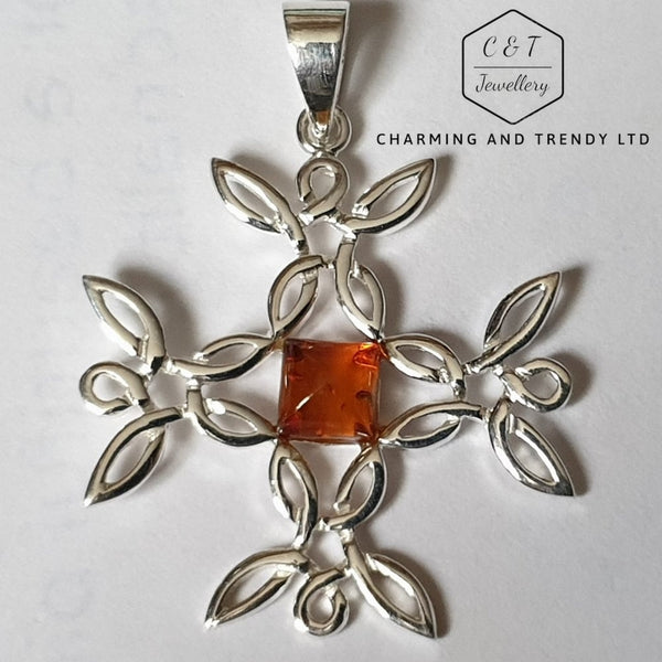 Sterling Silver Filigree Cross with Amber Pendant and Chain - Gift Boxed - Charming And Trendy Ltd