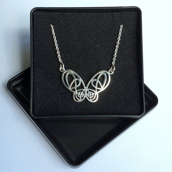 "925 Sterling Silver Filigree Butterfly Necklace 17"" Chain - Gift Boxed - Charming And Trendy Ltd"