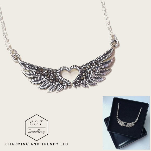 925 Sterling Silver Winged Heart Necklace 17