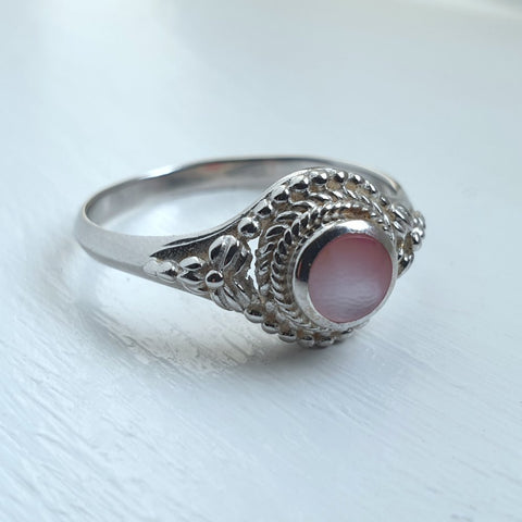925 Sterling Silver Rose Quartz Ring, Size 'P' - Gift Bagged - Charming And Trendy Ltd