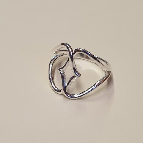 925 Sterling Silver Double Heart Infinity Ring, Size 'R' - Gift Bagged - Charming And Trendy Ltd