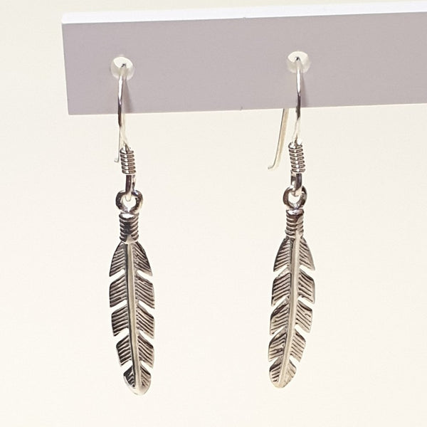 925 Sterling Silver Feather Design Hook Earrings - Gift Boxed - Charming And Trendy Ltd