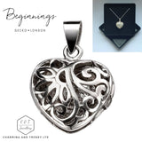 "925 Sterling Silver Open Filigree Heart Locket Pendant - 18"" Chain - Gift Boxed - Charming And Trendy Ltd"