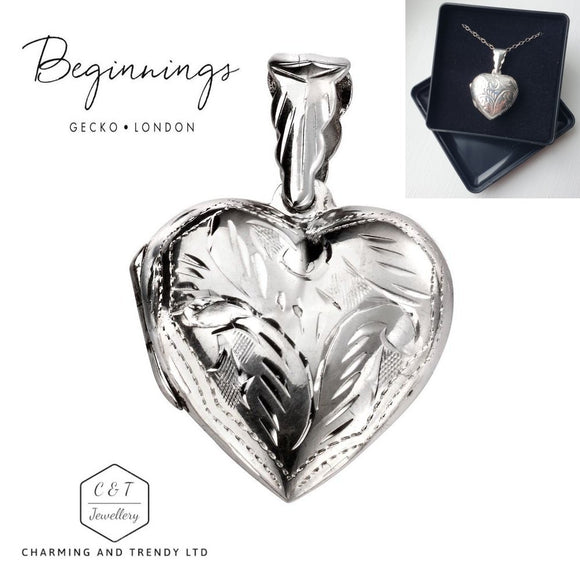 925 Sterling Silver Engraved Detail Heart Locket Pendant 18