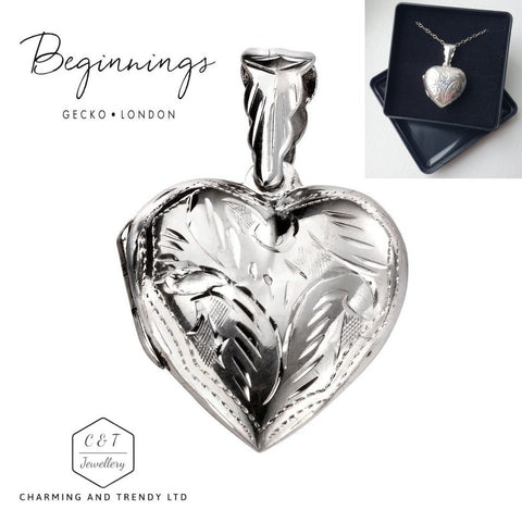 "925 Sterling Silver Engraved Detail Heart Locket Pendant 18"" Chain - Gift Boxed - Charming And Trendy Ltd"
