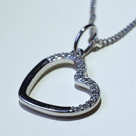 "Fiorelli Sterling Silver Cubic Zirconia Love Heart Pendant 18"" - P4692C - Charming And Trendy Ltd"
