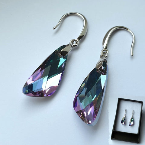 Swarovski Geometric Cut Purple and Green Crystal Earrings RRP £65 (Boxed) - Charming And Trendy Ltd
