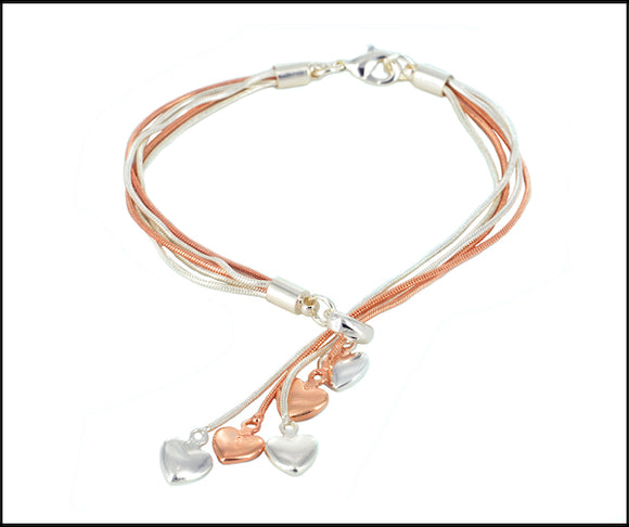Heart-Drops Bracelet - Silver & Rose Gold Plated - Charming And Trendy Ltd