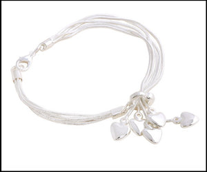 Heart Charms Silver Plated Bracelet - Charming And Trendy Ltd