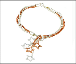 Star-Drops Bracelet - Silver & Rose Gold Plated - Charming And Trendy Ltd