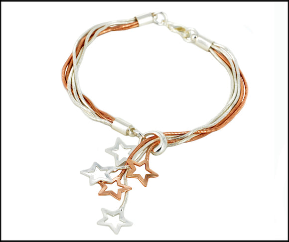 Star-Drops Bracelet - Silver & Rose Gold Plated NB21618 CT0240
