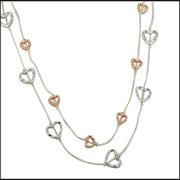 Double Layer Hearts Necklace - Silver and Rose Gold Plated - Charming And Trendy Ltd