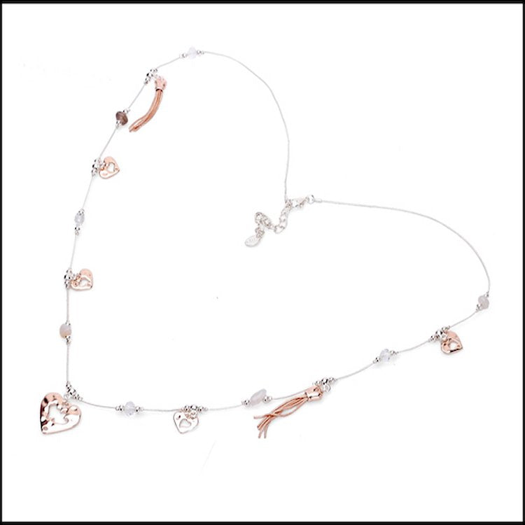 Mixed and Match Hearts & Natural Stone Necklace - Silver & Rose Gold Plated - Charming And Trendy Ltd