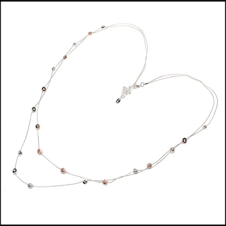 Crystal Inlaid Double Layers Necklace - Silver & Rose Gold Plated - Charming And Trendy Ltd