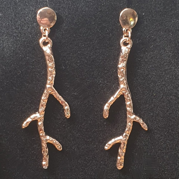 Rose Gold Plated Branch Earrings - Gift Box - Charming And Trendy Ltd