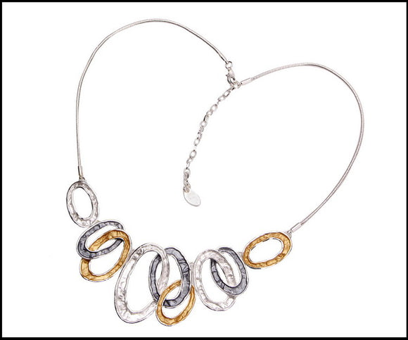 Enamel Detailed Hoop Necklace - Silver Plated - White, Honey & Grey - Charming And Trendy Ltd