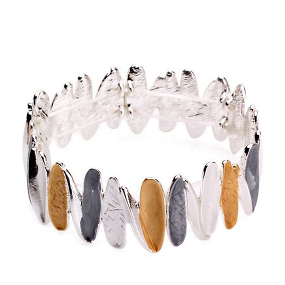 Enamel Detailed Bracelet - Silver Plated - White, Honey & Grey B21488 CT0250