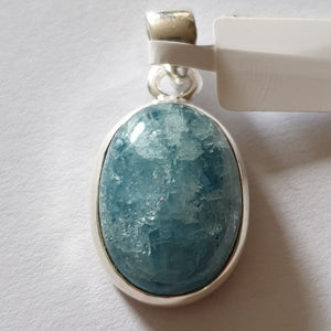 Aquamarine Pendant set in Sterling Silver (21mm) - Charming And Trendy Ltd