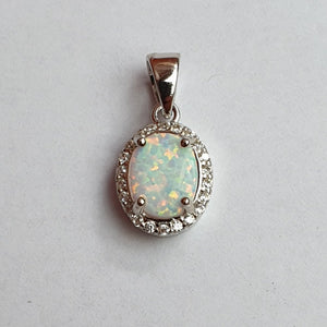"Opal Pendant set in Sterling Silver with 16"" Chain, Gift Boxed. - Charming And Trendy Ltd"