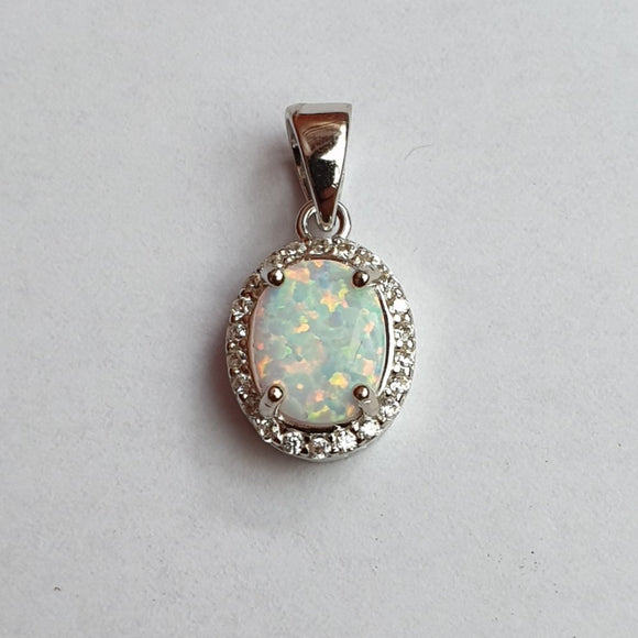 Opal Pendant set in Sterling Silver with 16