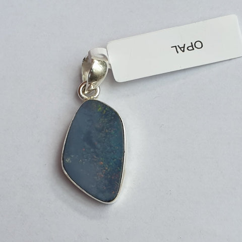 Blue Opal Pendant set in Sterling Silver 25mm - Charming And Trendy Ltd