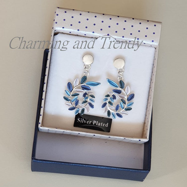 Lunar Tones Leaf Curl Silver Plated Earrings by Equilibrium - Charming And Trendy Ltd