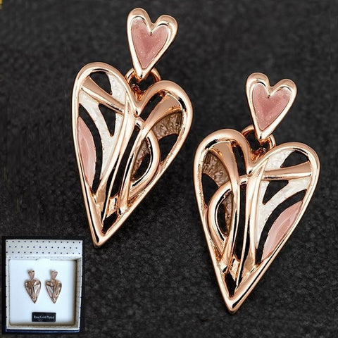 Earthy Tones Rose Gold Plated Modern Heart Earrings by Equilibrium - Charming And Trendy Ltd
