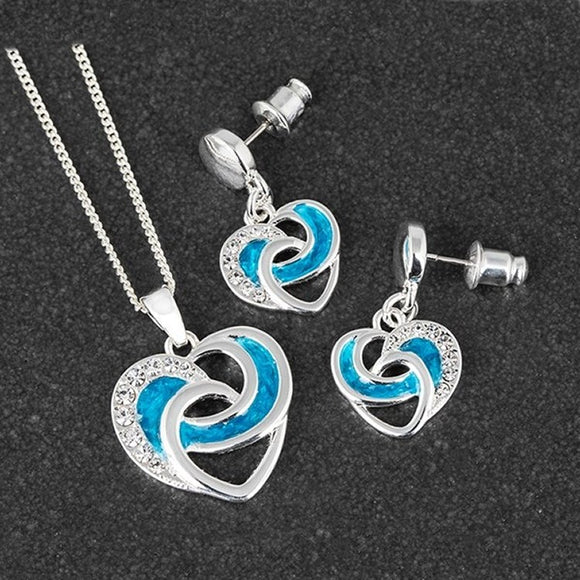 Sea Breeze Heart Silver Plated Necklace & Earrings by Equilibrium - Charming And Trendy Ltd