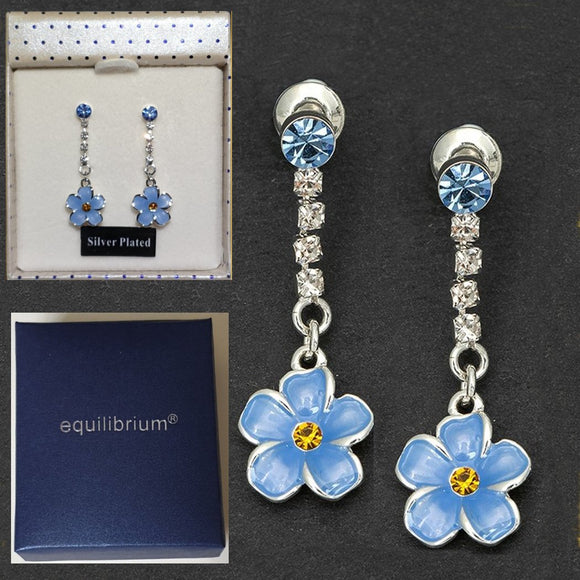 Forget Me Not Silver Plated Earrings by Equilibrium - Charming And Trendy Ltd