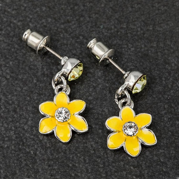 Radiant Daffodil Silver Plated Dangly Earrings by Equilibrium - Charming And Trendy Ltd