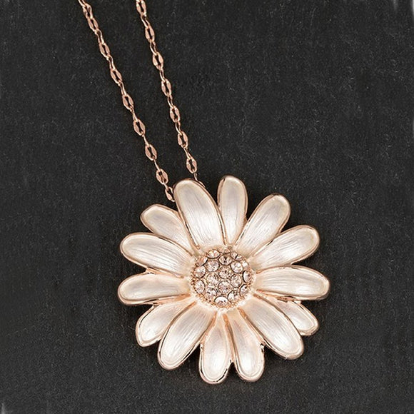 Dainty Daisy Long Rose Gold Plated Necklace by Equilibrium - Charming And Trendy Ltd