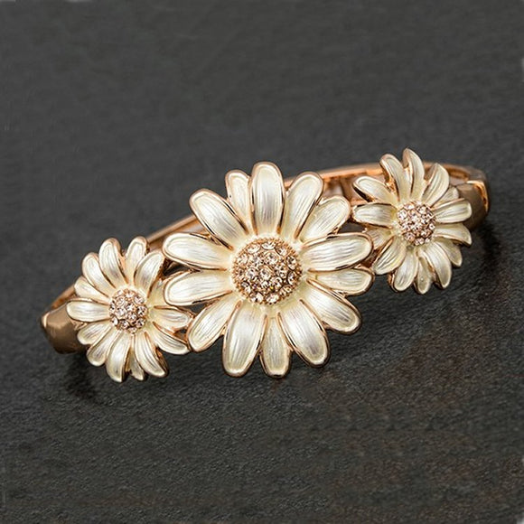Dainty Daisy Cluster Rose Gold Plated Bracelet by Equilibrium - Charming And Trendy Ltd